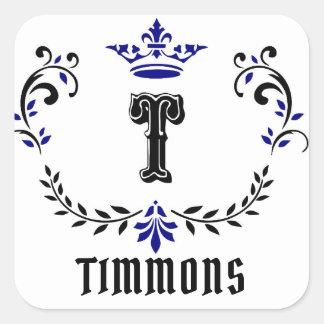 """Kronen-Kranz-Monogramm """"T"""" personifizieren Quadratischer Aufkleber"""