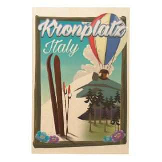 Kronplatz Italien Ski-Reiseplakat Holzwanddeko
