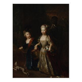 Kronprinz Frederick II mit Schwester Postkarte