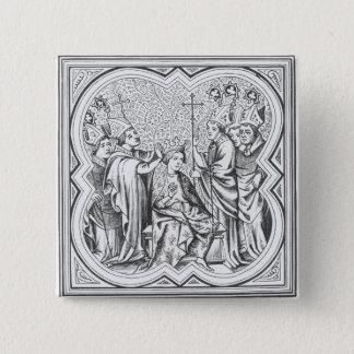 Krönung von Karl der Große (742-814) nach einem Quadratischer Button 5,1 Cm