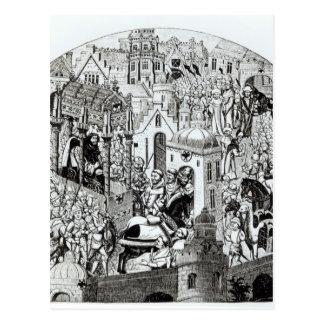 Krönung von Karl der Große in der Stadt von Postkarte