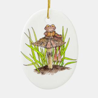 Kröten, die eine Buch-Verzierung teilen Keramik Ornament