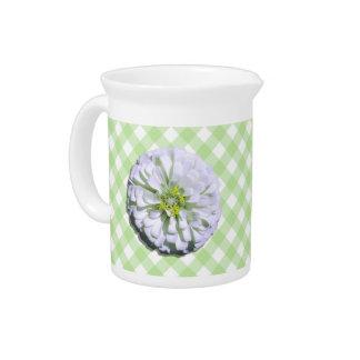 Krug - Lemony weißer Zinnia auf Gitter