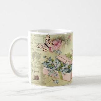 Krug vintage mit Blumen, Schmetterlingen, Rosen, Kaffeetasse
