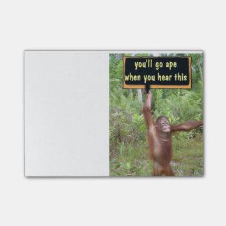 Krummer Tour gehen Sie Affe Post-it Klebezettel