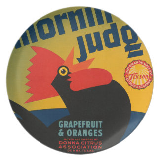 KRW-Morgen-Richter-Vintage Frucht-Aufkleber-Platte Teller