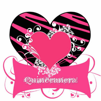 KRWzebra-schwarze und rosa Qinceanera Freistehende Fotoskulptur