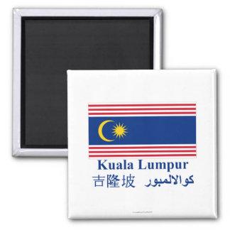 Kuala- Lumpurflagge mit Namen Kühlschrankmagnet