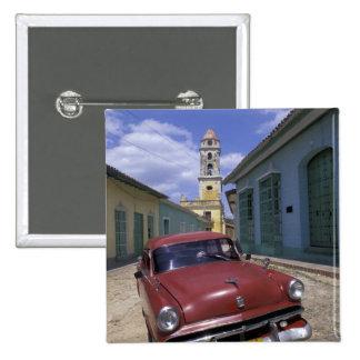 Kuba, altes Kolonialdorf von Trinidad Quadratischer Button 5,1 Cm