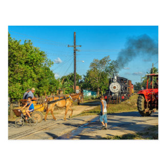 Kuba: Beschäftigte Eisenbahnüberfahrt Postkarte