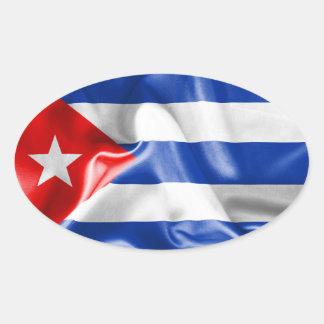 Kuba-Flagge Ovaler Aufkleber