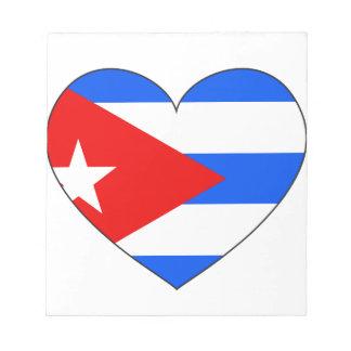 Kuba-Flaggen-Herz Notizblock