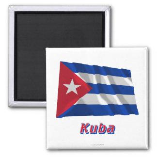 Kuba Fliegende Flagge MIT Namen Quadratischer Magnet