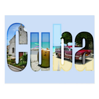 Kuba mit verschiedenen Szenen in den Buchstaben Postkarte