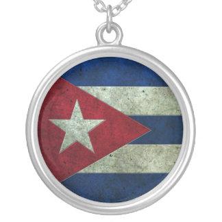 Kubanische Flagge gealterter Stahleffekt Personalisierte Halskette