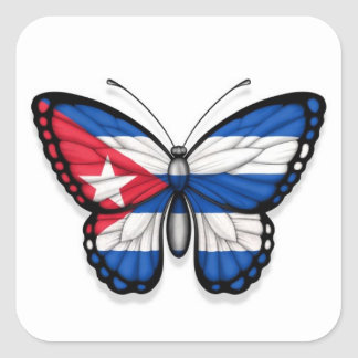 Kubanische Schmetterlings-Flagge Quadrataufkleber