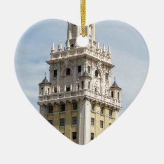 Kubanischer Freiheits-Turm in Miami Keramik Herz-Ornament