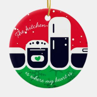 Küche, in der mein Herz Weihnachtsbaumverzierung Keramik Ornament