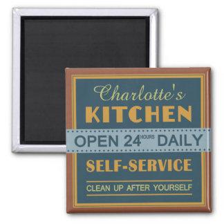 Küche - individueller Name - Magnet Quadratischer Magnet