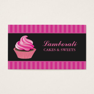 Kuchen-Bäckerei-Rosa-elegantes modernes niedliches Visitenkarte