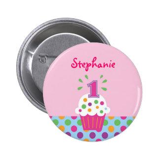 Kuchen-erster Geburtstags-Knopf Runder Button 5,7 Cm