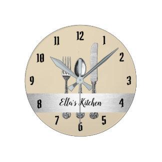 Küchen-Gerät-Silber-Gurt Runde Wanduhr