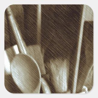 Küchen-Geräte Quadratischer Aufkleber
