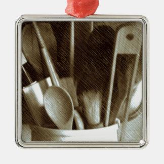 Küchen-Geräte Quadratisches Silberfarbenes Ornament