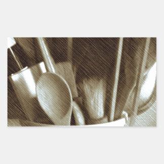 Küchen-Geräte Rechteckiger Aufkleber