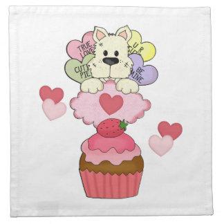 Kuchen-Hündchen-Valentinsgrüße Serviette