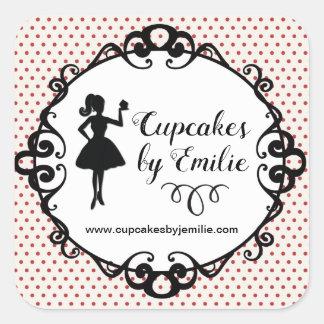 Kuchen-Mädchen-Silhouette-verpackenaufkleber Quadratischer Aufkleber