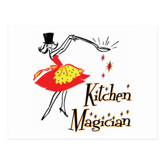 Küchen-Magier-Retro kochende Kunst-Postkarte