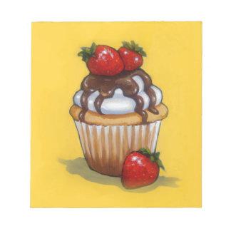 Kuchen-Malerei, Schokolade, Erdbeeren, Kunst Notizblock