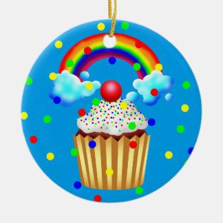 Kuchen-Party mit Regenbogen u. besprüht Rundes Keramik Ornament