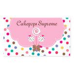 Kuchen-Pop-Geschäfts-Karten-Polka-Punkt-rosa Herz Visitenkartenvorlagen