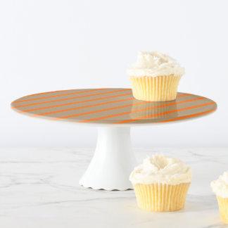 Kuchen-Stand-Gold mit orange Streifen Tortenplatte