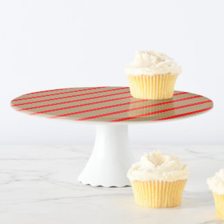 Kuchen-Stand-Gold mit roten Streifen Tortenplatte