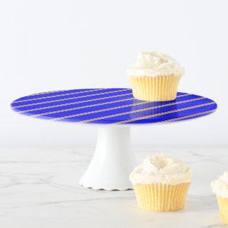 Kuchen-Stand-Königsblau mit goldenen Streifen Tortenplatte