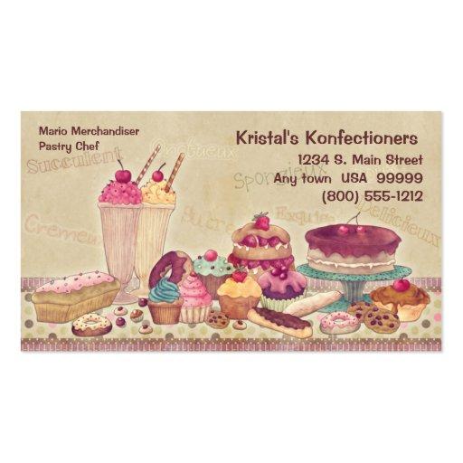 Kuchen, Torten, Plätzchen, Eiscreme-Visitenkarte
