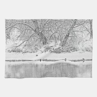 Küchen-Tuch-Western-Winter-Fluss-Baum Geschirrtuch