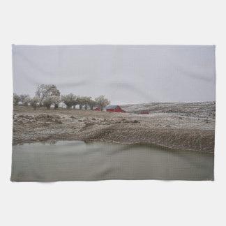 Küchen-Tuch-Western-Winter-Ranch-Landschaft Geschirrtuch
