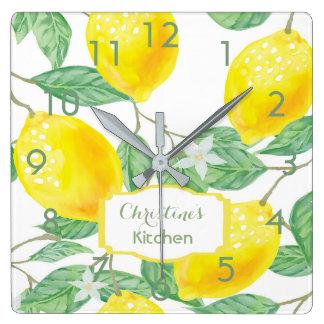 Küchen-Wanduhr mit Zitronen und Namen Quadratische Wanduhr