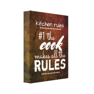 Küchenregel-Leinwandwandkunst-Spaßzitat Leinwanddruck