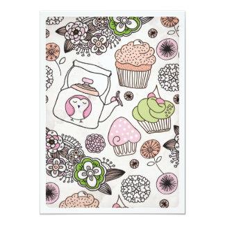Kuchenteekaffee-Blumen-Geburtstagseinladung Personalisierte Ankündigungen