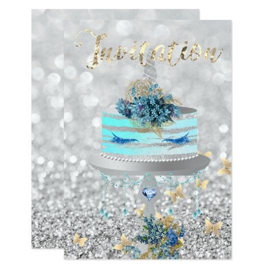 Kuchenunicorn-Party-Glitzer peitscht blaues 8,9 X 12,7 Cm Einladungskarte