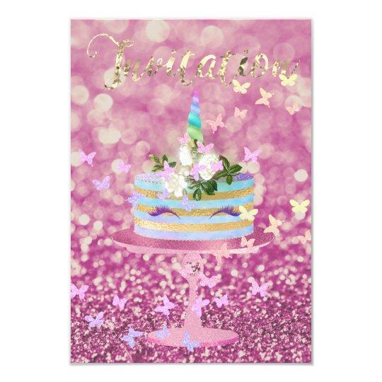 Kuchenunicorn-Party-Glitzer peitscht rosa 8,9 X 12,7 Cm Einladungskarte