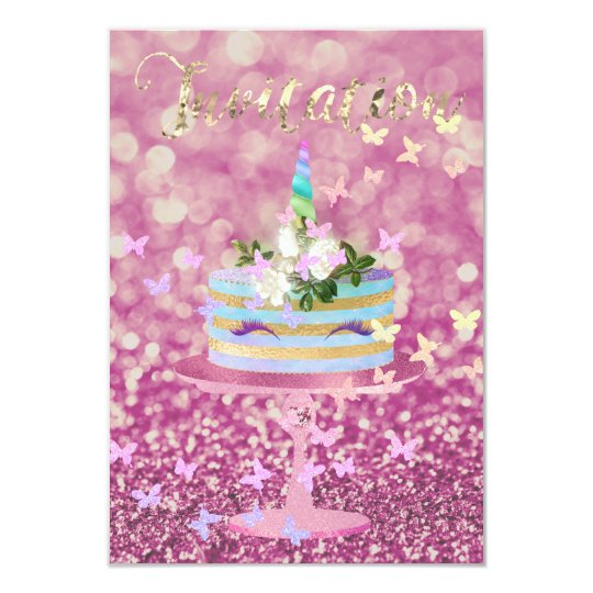 Kuchenunicorn-Party-Glitzer peitscht rosa Karte