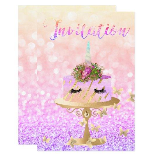 Kuchenunicorn-Rosen-GoldGlitzer peitscht 8,9 X 12,7 Cm Einladungskarte