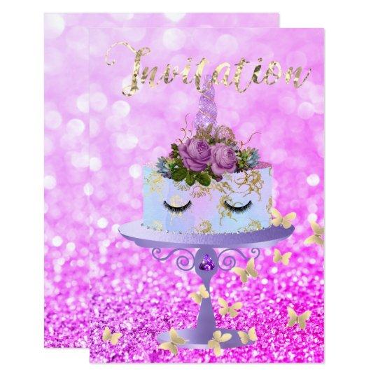 Kuchenunicorn-Rosen-GoldGlitzer peitscht Amethyst 8,9 X 12,7 Cm Einladungskarte