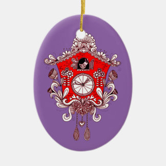 Kuckucksuhr Ovales Keramik Ornament
